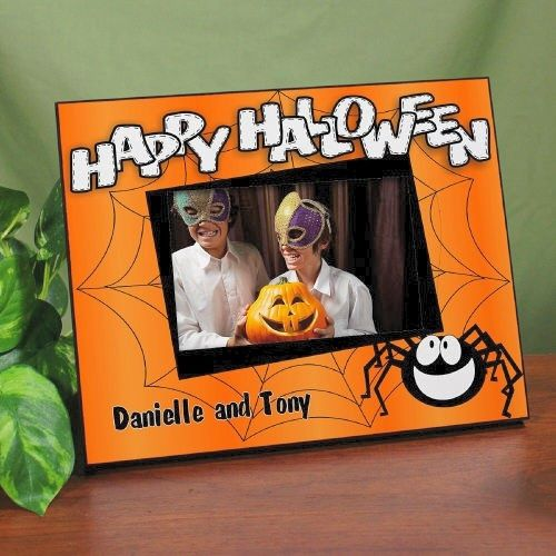 "Happy Halloween Personalized Printed Picture Frames. Custom Printed Happy Halloween Picture Frame - Personalized Halloween Picture Frame. Show off your little goblins, ghosts and ghouls with this fun Custom Printed Happy Halloween Picture Frame. What better way to share trick or treating and family Halloween parties than with a Personalized Happy Halloween Picture Frame. Your Personalized Halloween Frame measures 8"" x 10"" and holds a 3.5"" x 5"" or 4"" x 6"""