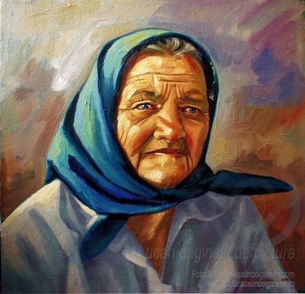 Matusa Verghiuta lucrare de pictura-arta figurativa in ulei pe panz,portret realizat in maniera realista creatie ...