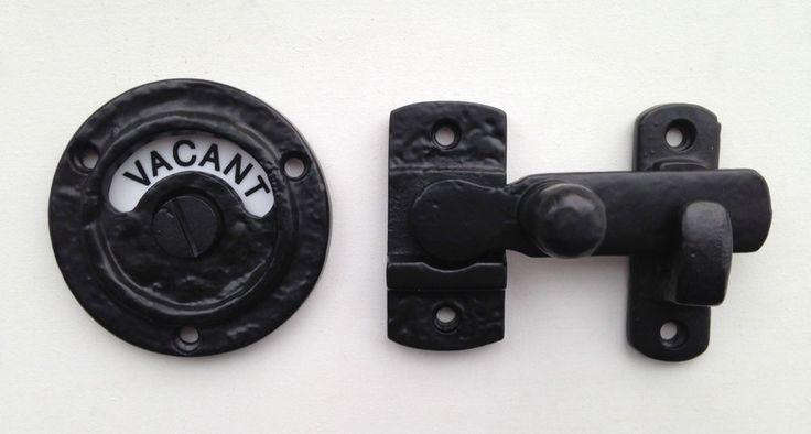 Black Antique Iron Vacant Engaged Bathroom WC Toilet Indicator Door Bolt Lock