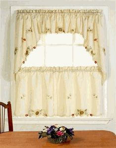 Embroidered Sunflower Tiers Swags Discount Kitchen Curtains With Fancy Hem