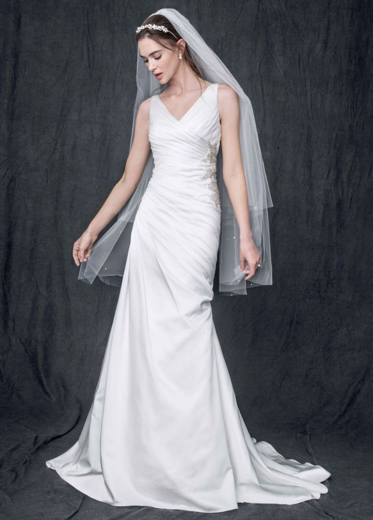 Strapless satin v neck gown with ruched bodice david 39 s for V neck strapless wedding dress
