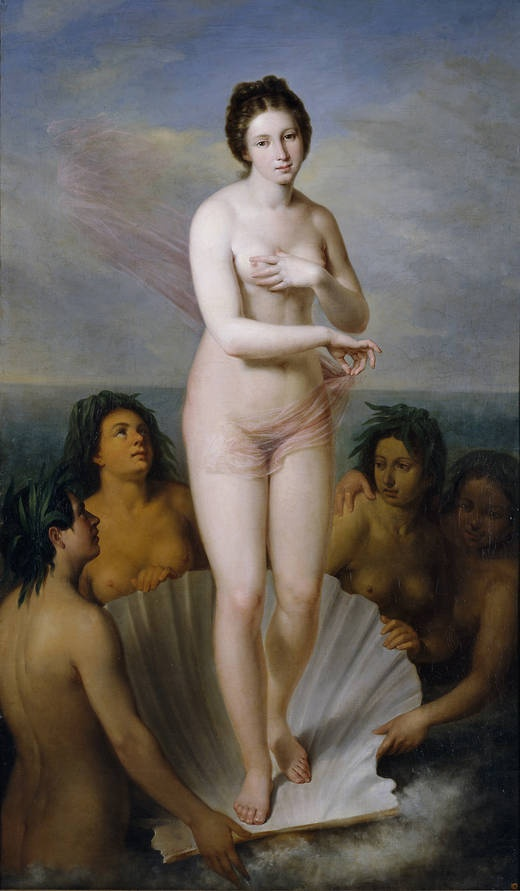 """""""Nacimiento de Venus"""", Antonio María Esquivel y Suárez de Urbina, 1842. Óleo sobre lienzo, 184 cm x 110 cm"""
