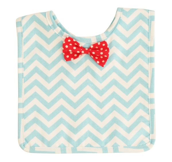 Designed in Australia by Alimrose Designs, this smart chevron-patterned bib features a spotty red bow tie, is towelling-backed and fastens with velcro tabs.  Teams perfectly with the Alimrose Chevron Bunny Rattle.
