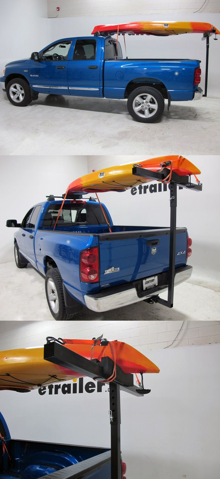 Carry a canoe or kayak safely and securely on your pickup truck - the darby extend-a-truck kayak carrier with hitch mounted load extender. When it comes to truck accessories for water lovers this is a necessity. Get to and from the water in no time.