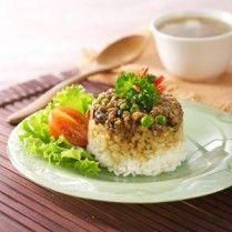 nasi tim daging jamur