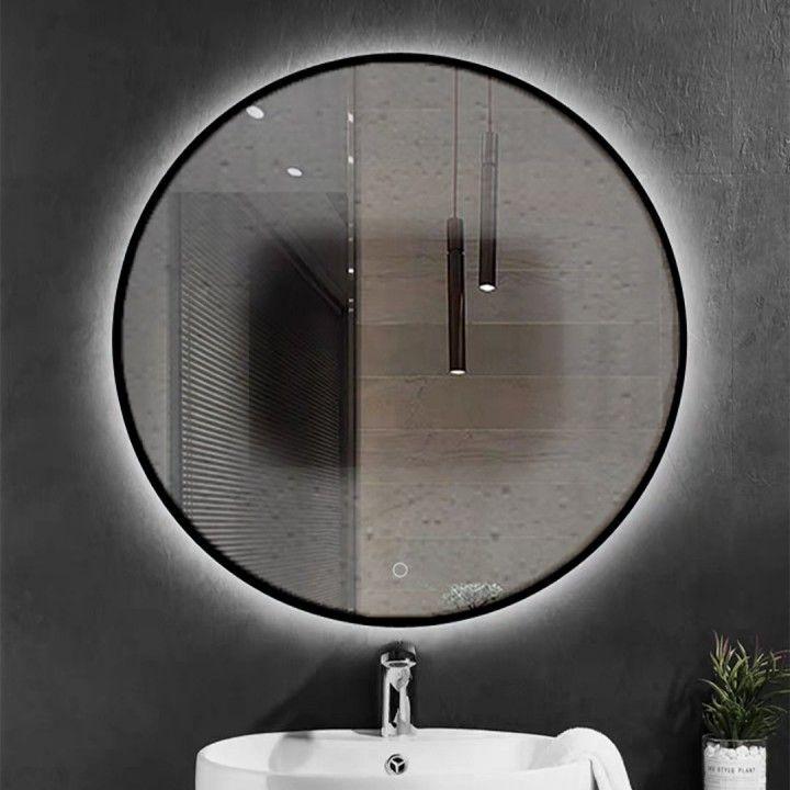 Badkamerspiegel Lara Rond Zwart 60x60cm Geintegreerde Led Verlichting Touch Schakelaar Spiegelverwarming Spiegel Badkamerspiegel Spiegel Badkamer Spiegel