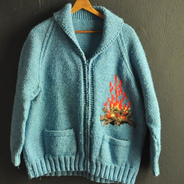 Vintage Cowichan Cardigan Sweater Jacket Hand made Knit  Zipper Campfire Camping design. $165.00, via Etsy.