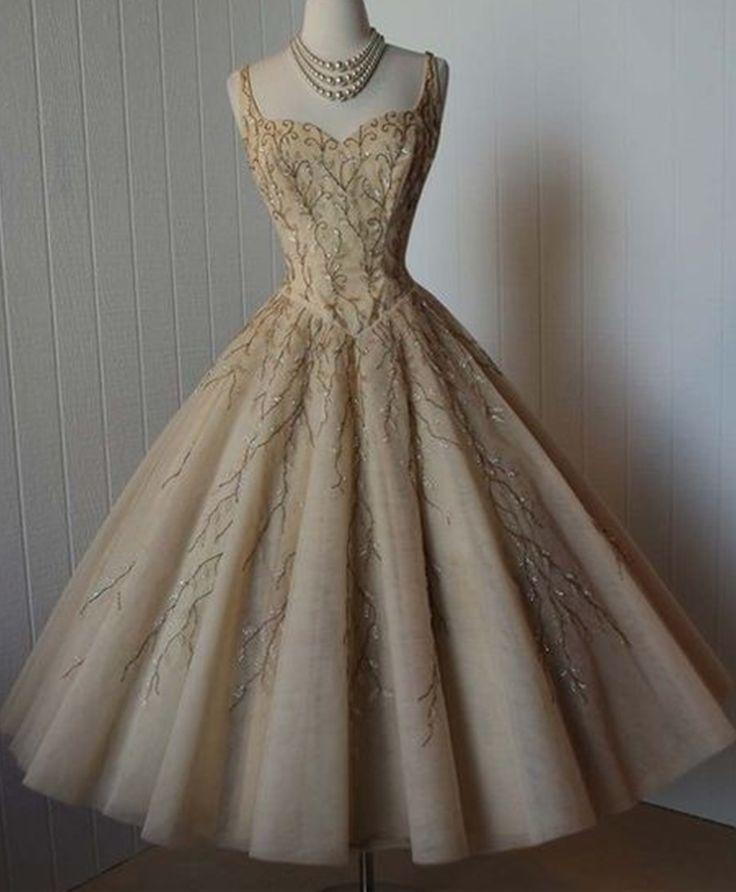 Vintage Prom Dress, Grey Prom Dress, Beading Crystals