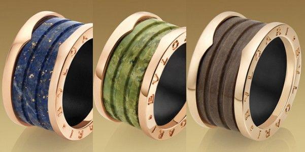 B.Zero1 4-band #Bulgari Ring Ref.AN856222 in 18 kt Pink Gold and Marble Blue €900,00.   B.Zero1 4-band Bulgari Ring Ref.AN856221 in 18 kt Pink Gold and Green Marble €900,00.  B.Zero1 4-band Bulgari Ring Ref.AN856226 in 18 kt Pink Gold and  Brown Murble.Anelli #Bulgari B Zero1 4 bande in Oro Rosa e Marmo Blu Ref.AN856222, in oro Rosa e Marmo Verde Ref.AN856221 ed in Oro Rosa e Marmo Marrone.€900,00 l'uno
