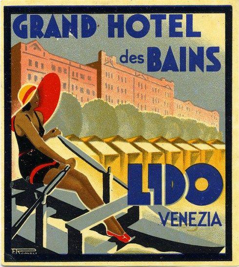 Lido Venezia Grand Hotel des Bains (Italy) Vintage Travel Beach Poster Art Deco by Filippo Romoli ca. 1930 #essenzadiriviera - www.varaldocosmetica.it/en