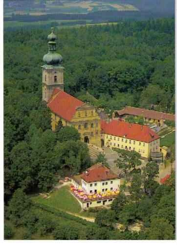 """Mariahilfberg in Amberg, Germany - """"Church on a Hill""""  We attended a German festival there in June, 2009.  They had huge tables set up under tents.  Both Eric & Marty had bier (and could keept the stoneware beer stein's) with bratwurst.  I had a nice, hot huge pretzel. I think that we were the only American's at the festival!"""