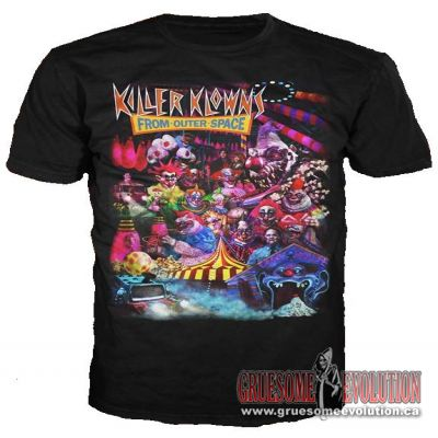 T-Shirt by director; Stephen Chiodo, with an excellent collage art from Killer Klowns from Outer Space.  Shirt is new and is size Medium.