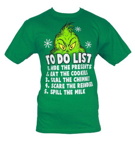 "The Grinch that Stole Christmas Mens T-Shirt - ""To do List?"" Grinch Eyes Image (Large) Green IMPB"