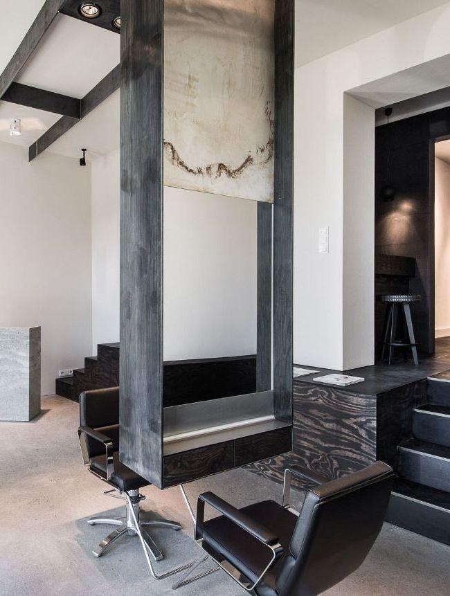 Оригинальное дизайнерское оформление салона красоты - с перепадами уровня и ступенями