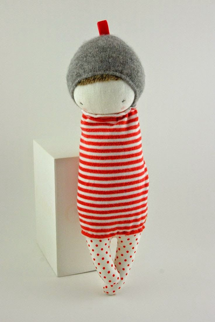 Muc Muc - sweet little sewn doll with striped shirt dress and red polka dot tights.