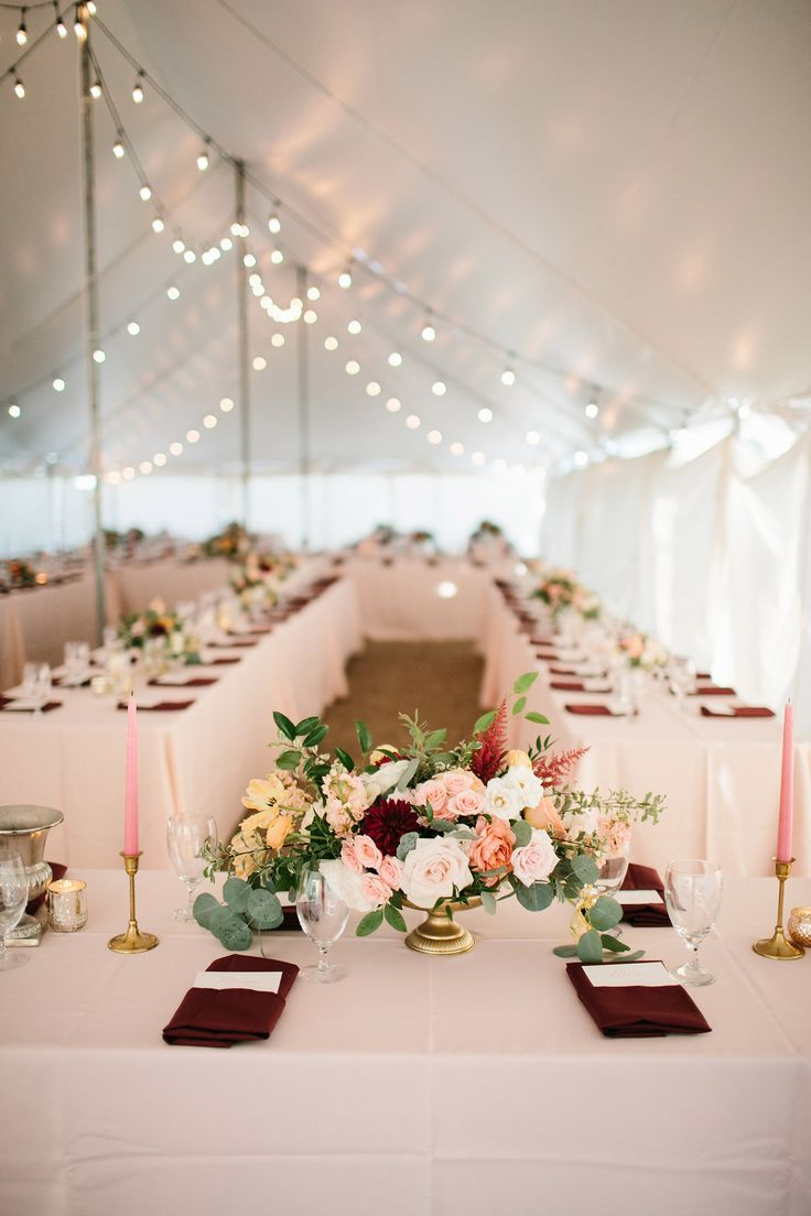 Blush Tablecloth With Burgundy Napkins Google Search