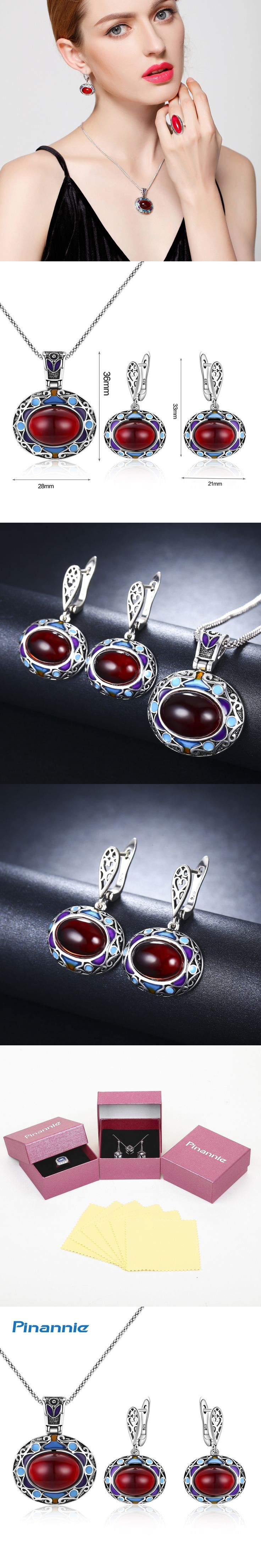 Pinannie Ethnic Jewelry Sets for Women Antique Silver Plate Color Jewellery Wedding Party Gifts