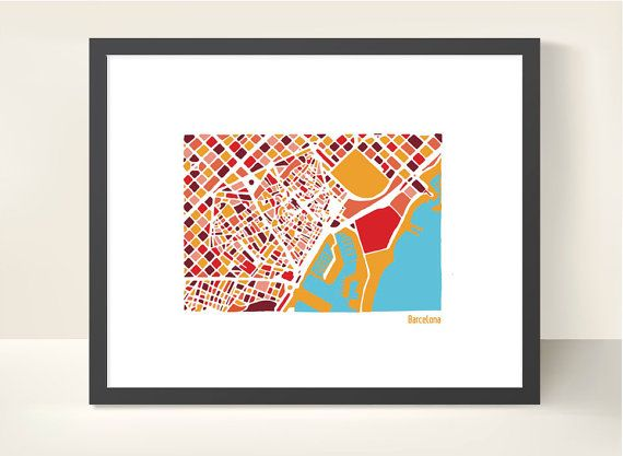 Barcelona City Map  illustration print by richardedalton on Etsy, €15.00