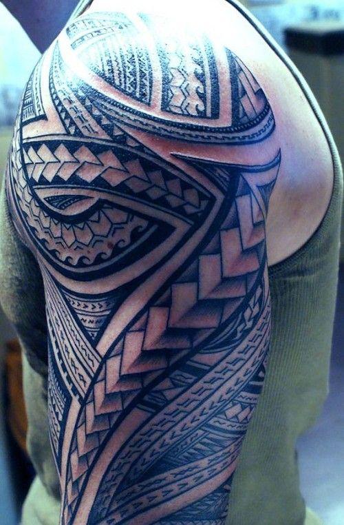 Ocean+And+Spear+Head+Polynesian+Sleeve+Tattoo