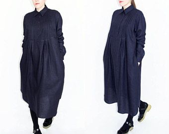 Blauwe linnen jurk, linnen overhemd jurk, geplooid lange jurk, losse shirt-jurk, lange mouwen jurk, minimalistische jurk, vrouwen linnen shirt