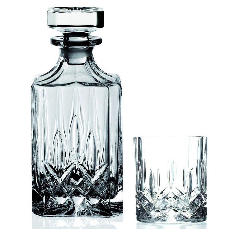 Add this seven-piece crystal whiskey set from Opera to your bar for a sophisticated accent or to enjoy an after dinner drink. The 30-ounce decanter holds your favorite whiskey, and the six seven-ounce glasses can serve several guests.