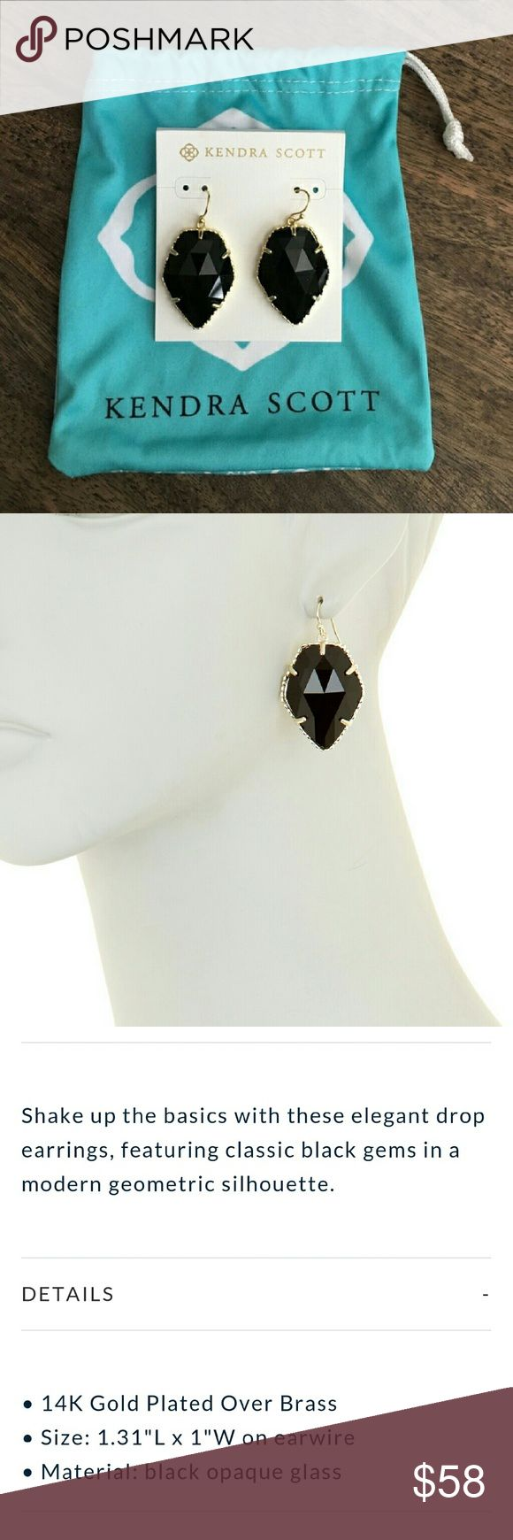 NWT $75 KENDRA SCOTT Black Gem faceted earrings!! Beautiful Kendra Scott earrings in black glass, with Gold.   Authentic Kendra Scott, brand new with tags. Retail value $75, stunning earrings....  ***Photos don't do these gems justice, the facets catch and shine in the light... they are far more gorgeous in person!***** Kendra Scott Jewelry Earrings