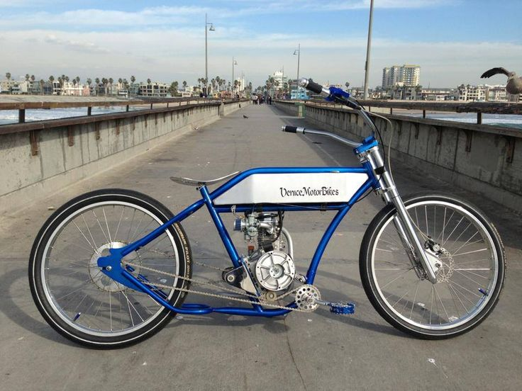 Ruff Cycles Porucho at the Venice Pier, motorized bicycle, bobber, chopper,