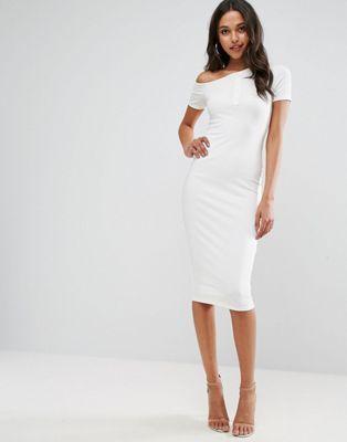 Облегающее платье миди на одно плечо с планкой на кнопках ASOS