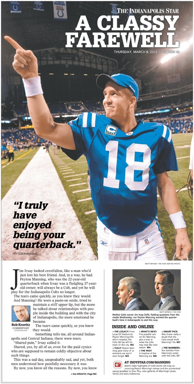 Peyton Manning is released from the Colts: A Classy Farewell cover from Indy Star