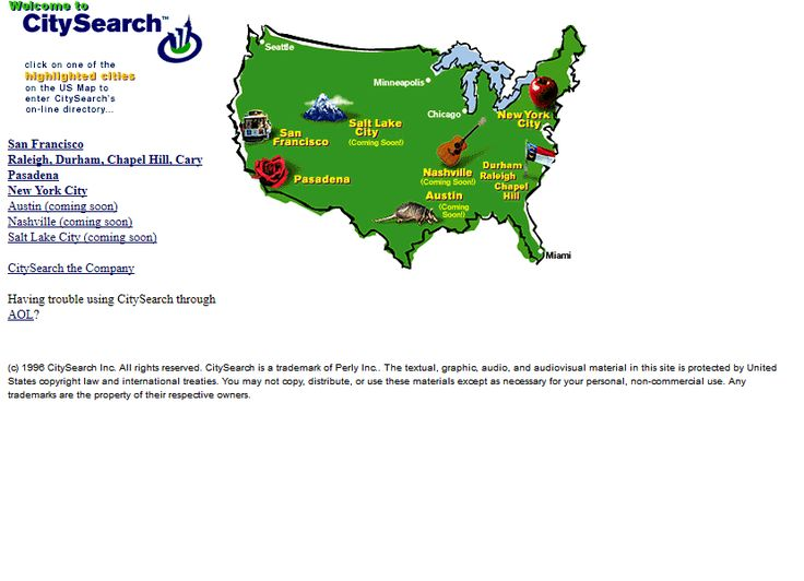 CitySearch website in 1996