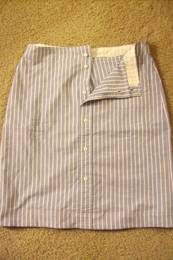 Okay, I'm partial, but I think this is one of the greatest makeovers of a men's dress shirt into something else--a cute, springy skirt! ...