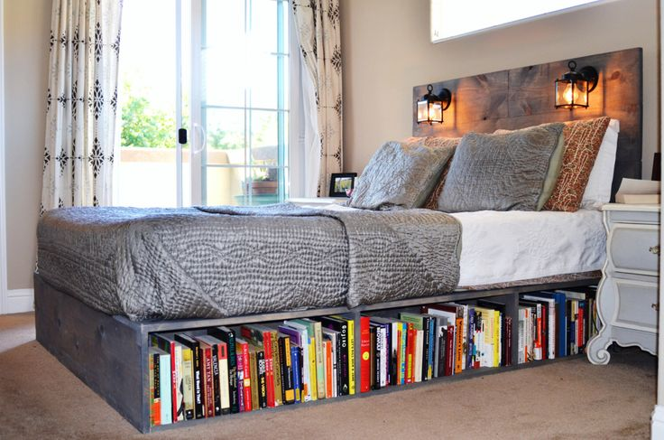 Wood Platform Bed with Headboard and Bookshelf-Los Olivos by KnotsandBiscuits on Etsy https://www.etsy.com/listing/155120302/wood-platform-bed-with-headboard-and