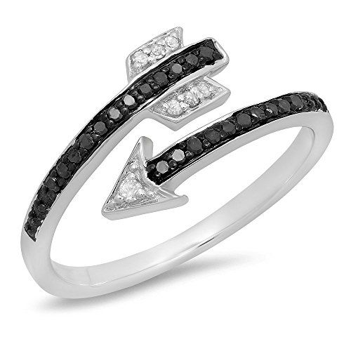 0.15 Carat (ctw) Sterling Silver Black & White Diamond Bridal Vintage Right Hand Arrow Ring (Size 7)	by DazzlingRock Collection