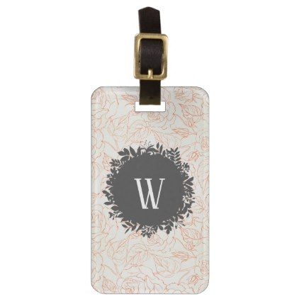 Rose Sketch Seamless Pattern with Monogram Luggage Tag - monogram gifts unique design style monogrammed diy cyo customize