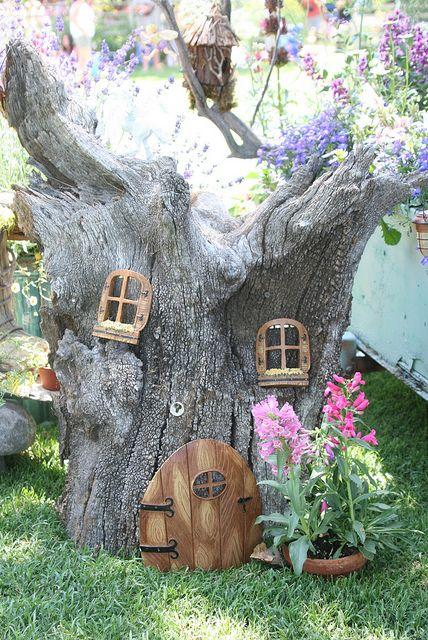 fairy garden, tree trunk house
