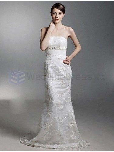 Trumpet Mermaid Strapless Satin Lace Beading Court Train Wedding Dress