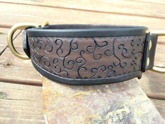 Custom Leather Hand Tooled Dog Collar by FinelyTooled on Etsy