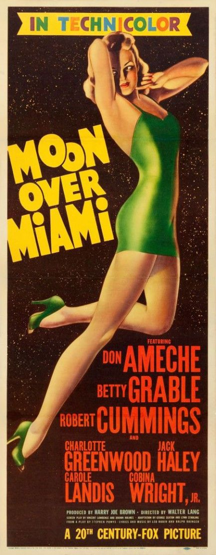 Moon over Miami (1946) | Poster painted by Alberto Vargas #vintage #film #sciencefiction