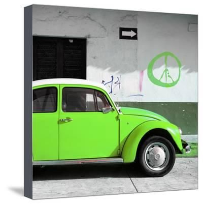 ¡Viva Mexico! Square Collection - Lime Green VW Beetle Car & Peace Symbol Photographic Print by Philippe Hugonnard at Art.com