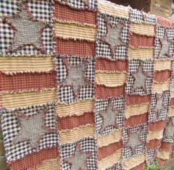 Stars-n-Stripes Throw/Tablecloth Homespun Fabric Kit