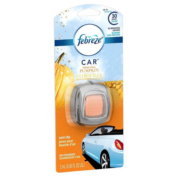 Febreze Car Vent Clip Fresh Fall Pumpkin Air Freshener, 1 Count, 0.06 oz