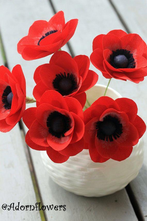 Anémona de papel flores de papel crepé para el por adornflowers