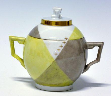 Sugar cup by Nora Gulbrandsen (decor) and Thor Kielland (model) for Porsgrund Porselen. In production between 1927-1937 Model nr 1830. Decor nr 5839
