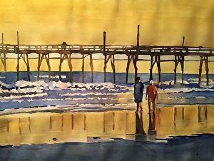 Bronwen Jones - Beach Stroll- Watercolor - Painting entry - December 2016 | BoldBrush Painting Competition