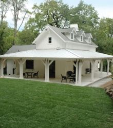 small farmhouse plans --- I love the porch that looks as though it wraps around three sides of the house.