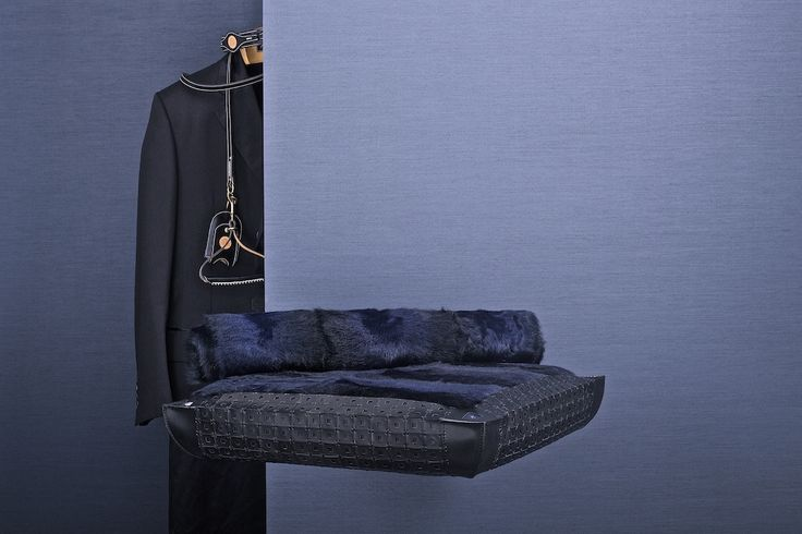 Made to Order pet bed in black calfskin with perforated detailing