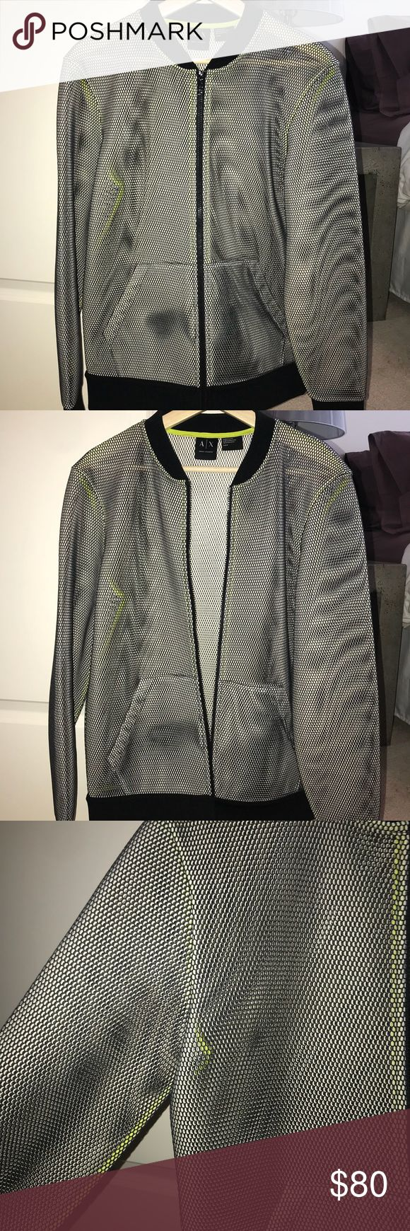 Armani Exchange Mesh Bomber Jacket Mesh neoprene bomber jacket by Armani Exchange. Black mesh with black bands at wrist and waist. Mesh see through, has lime green piping on the inside. Great layering piece, only worn 2 times! Men's size small. A/X Armani Exchange Jackets & Coats Bomber & Varsity