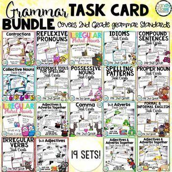 Grammar Task Cards Mega Bundle for Second Grade - Covers all 2nd grade Common Core standards for grammar! $