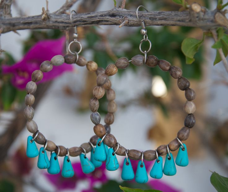 Grey Mary's Tears Seeds and Blue Turquoise Earrings