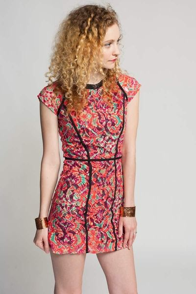 Shakuhachi lace block cut out dress